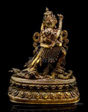A FINE GILT-BRONZE FIGURE OF SAMVARA AND NAIRATMYA, NEPAL, 16th/17th ct., standing in pratyalidhasan
