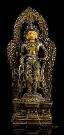 A RARE BRONZE FIGURE OF PADMAPANI, TIBET, 16th ct., standing in samabhanga on a lotus base placed on