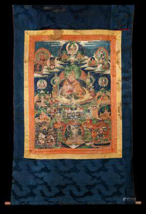 HIGH PATRIARCH OF THE GELUG-PA TRADITION, Tibet, 1st half 19th ct. Tempera and gold on cotton, origi