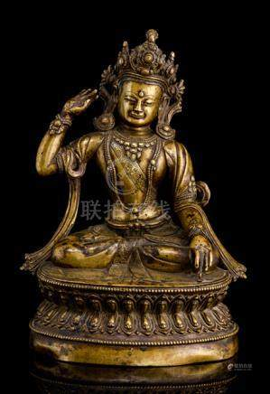 A RARE SILVER-INLAID BRONZE FIGURE OF GSHEN.RAB.RNAM.PAR.RGYAL.PO, TIBET, 16th ct., the founder of t