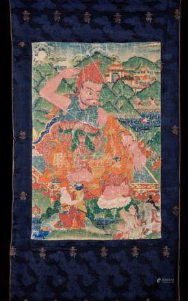 ACARYA VASUBANDHU - AN INDIAN GURU (316-396), Tibet, 19th ct. Tempera and gold on cotton, original s