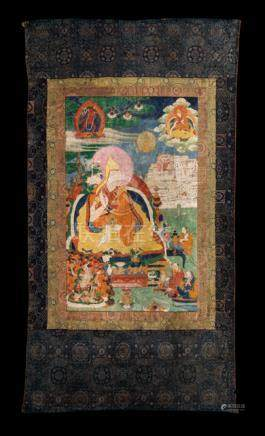 """THE GREAT FIFTH"" - NGAWANG LOBSANG GYATSO (1617-1682), Central Tibet, 18th ct. Tempera and gold on"