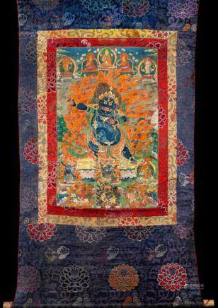 VAJRAPANI - THE BODHISATTVA OF STRENGTH, Tibet, 19th ct. Tempera and gold on cotton, original brocad