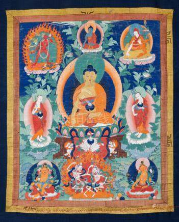 THE HISTORIC BUDDHA SHAKYAMUNI, Tibet, 19th ct. Tempera and gold on cotton, original silk-satin moun