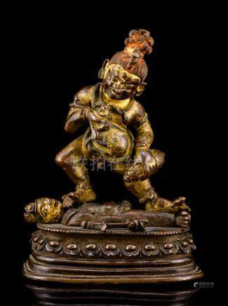 A FINE AND RARE BRONZE FIGURE OF JAMBHALA, CHINA, QIANLONG PERIOD, PALA-REVIVAL STYLE, 18th ct., tra