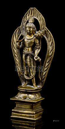 A BRONZE FIGURE OF PADMAPANI, KASHMIR, ca. 11th ct., standing in tribhanga on a lotus base placed on