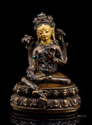 A BRONZE FIGURE OF SYAMATARA, TIBET, 13th/14th ct., seated in lalitasana on a lotus base with both h