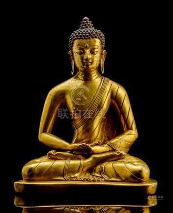 A FINE GILT-BRONZE FIGURE OF THE BUDDHA OF CONFESSION DHANASHRI, TIBET, 17th ct., seated in vajrasan