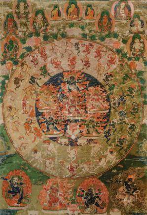 A FINE THANGKA OF THE MANDALA OF THE 58 WRATHFUL DEITIES OF THE BARDO, Tibet, 18th/19th ct., mounted