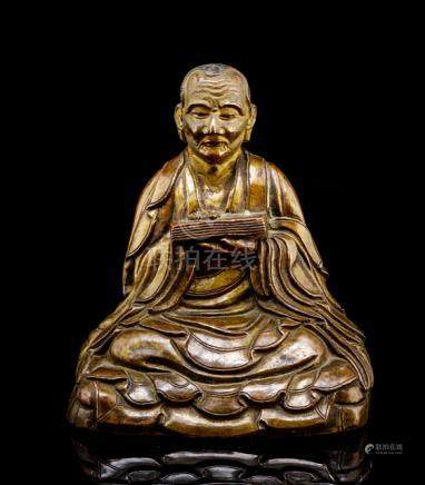 A FINE BRONZE OF THE ARHAT GOPAKA, Tibet, 18th ct. - Property from an important German private colle