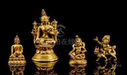 FOUR GILT-BRONZE FIGURINES OF A BODHISATTVA, BUDDHA SHAKYAMUNI, VAISHRAVANA AND JAMBHALA, TIBETO-CHI