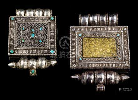 TWO LOW-ALLOY SILVER AMULET BOXES, GAHU, TIBET, late 19th ct., the largest of rectangular shape deco