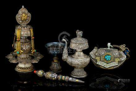 A GROUP OF FIVE RITUAL OBJECTS, Tibet, 19th ct. and later - Property from a South German private col