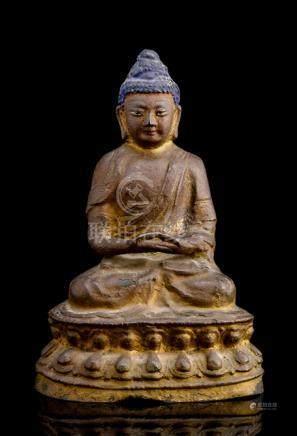 A BRONZE FIGURE OF BUDDHA SHAKYAMUNI, CHINA, 15th/16th ct., seated in vajrasana on a lotus base with