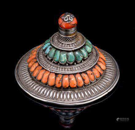 A TURQUOISE AND RED CORAL INLAID SILVER AND COPPER HEAD DRESS, TIBET, late 19th ct., the circular co