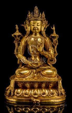A FINE GILT-BRONZE FIGURE OF AVALOKITESHVARA, CHINA, 15th/16th Ct., the deity of compassion is finel