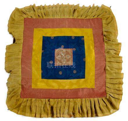 A SILK AND BROCADE ALTAR COVER, Tibet, 19th ct., the square velvet baldaquin hanging is embroidered