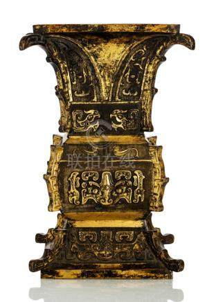 A GILT-BRONZE ZUN IN ARCHAIC STYLE, China, 18th/19th ct. - Property from a German private collection