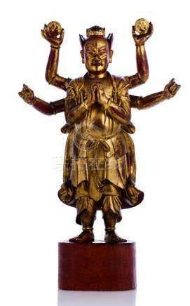 A WELL CARVED GILT-LACQUERED WOOD FIGURE OF MARSHAL TIANYOU, China, ca. 18th ct. - Property from a E