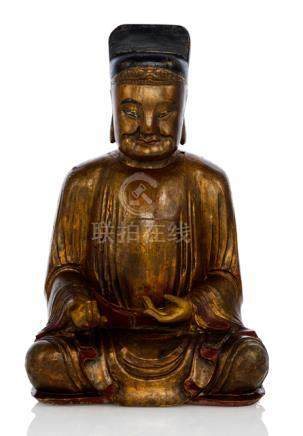 A GILT-LACQUERED WOOD FIGURE OF A SEATED OFFICIAL, China, ca. 18th ct. - Property from a European pr