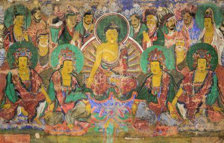 A LARGE ANONYMOUS PAINTING OF A BUDDHIST PANTHEON WITH CENTRAL DEPICTION OF BUDDHA SEATED ON THE LOT