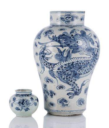 A DRAGON VASE AND A SMALL JAR IN UNDERGLAZE BLUE, Korea, late Yi dynasty - Formerly property from a
