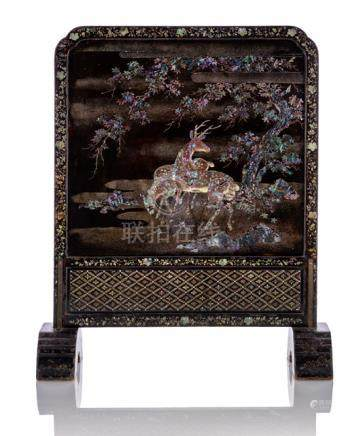 AN EXCELLENT BLACK-LACQUERED WOOD SCREEN, Ryukyu Islands, 17th/18th Ct., the front and the back deco