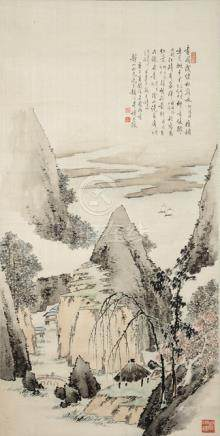 Song Yanbo, Mountain Landscape in the style of Gao Qipei (1660-1734), Finger painting. China, dated