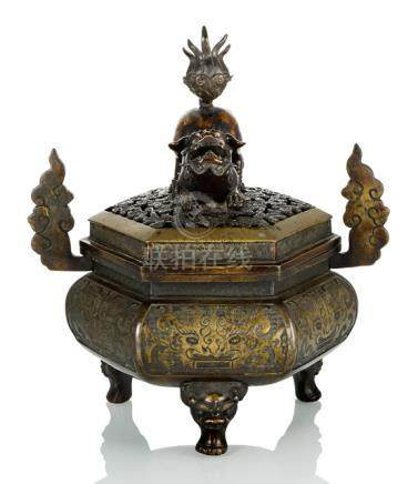 A TRIPOD CENSER WITH COVER AND FO LION HANDLE, China or Japan, 18th ct. - Provenance: Former old Ger