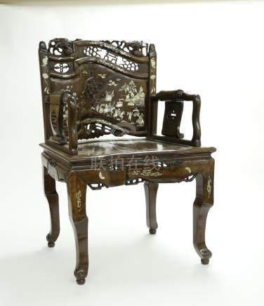 木嵌貝人物故事圖椅