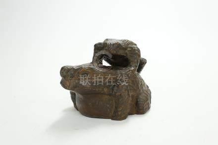 木雕蛙擺件