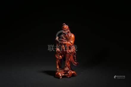 黃楊木雕東方朔擺件