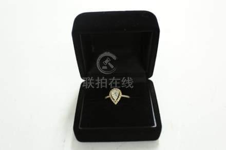 K18心形鑽石戒指1.036ct*鑒書付
