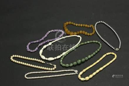 珍珠象牙玉石項鏈8點一組