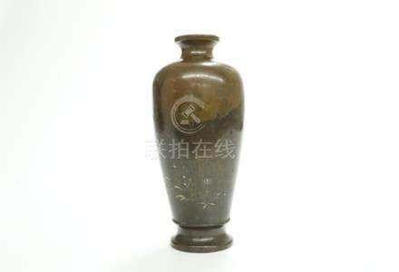 銅錯金銀花卉瓶