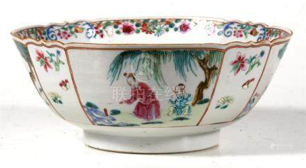 A 19th century Chinese famille rose bowl, decorated figures in landscapes, 23cm (9.5ins) diameter