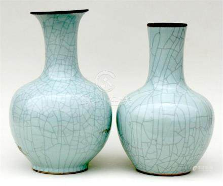 Two Chinese crackle glazed vases, 41cm (16ins) high