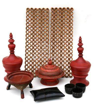 A pair of red lacquer Burmese temple offering boxes, 30cm (11.75ins) high, another similar, a