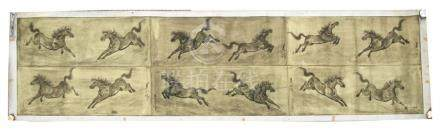 A large Chinese scroll painting depicting the Horses of Mu Wang,