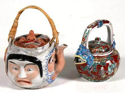 A Japanese Banko teapot together with a Japanese teapot decorated figures, (2)