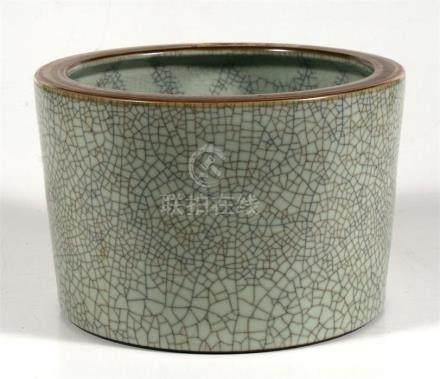 A Chinese crackle glaze brush pot, 19.5cm (7.75ins) high