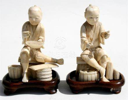 Two late 19th century Japanese Meiji period sectional ivory figures, 10cms (4ins) high (2).