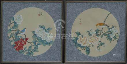 A pair of Chinese circular watercolours depicting birds and flowers, framed & glazed, 32cms (12.