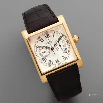 Cartier. A fine and rare 18K rose gold manual wind square single button chronograph wristwatch  Collection Privée Tank Chronographe Mono Poussoir, Ref: 2846, No.38/100, Circa 2000