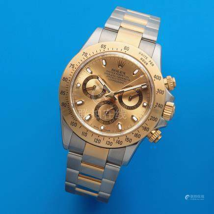 Rolex. A stainless steel and gold automatic calendar chronograph bracelet watch  Cosmograph Daytona, Ref: 116523, Circa 2007