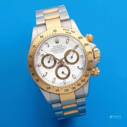 Rolex. A stainless steel and gold automatic chronograph bracelet watch  Cosmograph Daytona, Ref: 116523, Sold November 2004