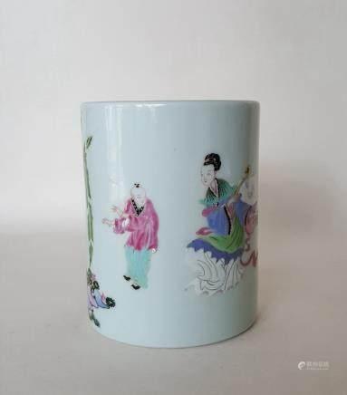 Chinese Famille Rose Porcelain Brushi Pot