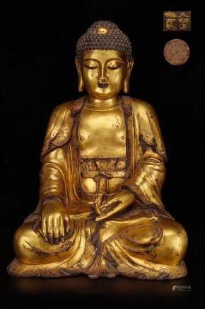 Yongle Mark, A Gilt Bronze Buddha Statue