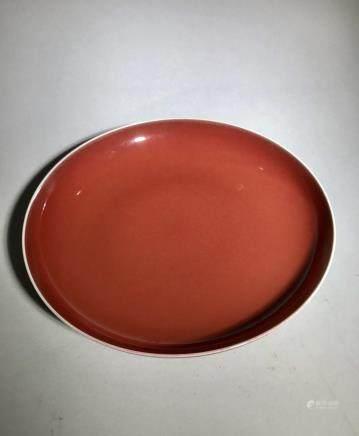 Qianlong Mark, A Red Glazed Dish
