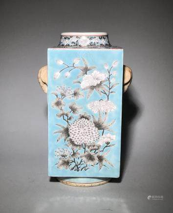 A Blue Ground and Grisaille Square Vase